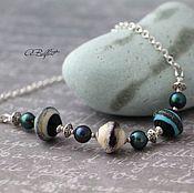 Украшения handmade. Livemaster - original item necklace of lampwork beads and pearls