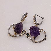 Украшения handmade. Livemaster - original item Silver earrings with natural amethyst.. Handmade.