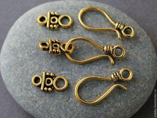 Замок застежка крючок в виде крючка Металл сплав цинка, без никеля и кадмия Цвет античное золото