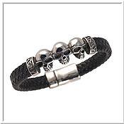 Украшения handmade. Livemaster - original item Men`s leather bracelet No. 14 accessories steel 316L. Handmade.