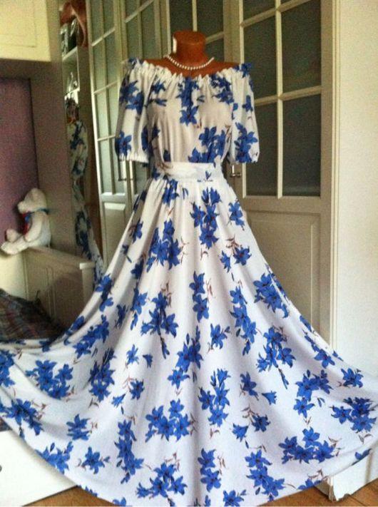 Платья ручной работы. Ярмарка Мастеров - ручная работа. Купить Штапельное платье в пол Колокольчики. Handmade. Летнее платье