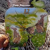 """Для дома и интерьера ручной работы. Ярмарка Мастеров - ручная работа Часы """"Заячья поляна"""". Handmade."""