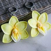 Украшения handmade. Livemaster - original item Yellow orchid earrings, polymer clay. Handmade.