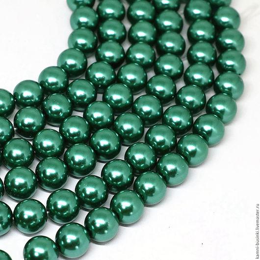Жемчуг зеленый 8, 10, 14 мм Shell Pearl бусина шар. Жемчужные бусины для колье, бусины из жемчуга фриформ для браслетов, бусина из жемчуга для серег.