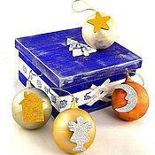 Подарки к праздникам ручной работы. Ярмарка Мастеров - ручная работа Набор деревянных елочных шаров в декорированной деревянной коробке. Handmade.