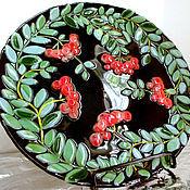 Тарелки ручной работы. Ярмарка Мастеров - ручная работа Тарелка из стекла Рябиновая симфония. Handmade.