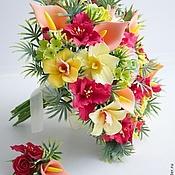 Свадебный салон ручной работы. Ярмарка Мастеров - ручная работа Свадебный букет с красными лилиями. Handmade.