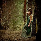 Одежда handmade. Livemaster - original item Green Jacquard Linen Vest with Applique «Forest Owl». Handmade.