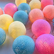Гирлянды ручной работы. Ярмарка Мастеров - ручная работа Гирлянда из хлопковых шаров. Handmade.