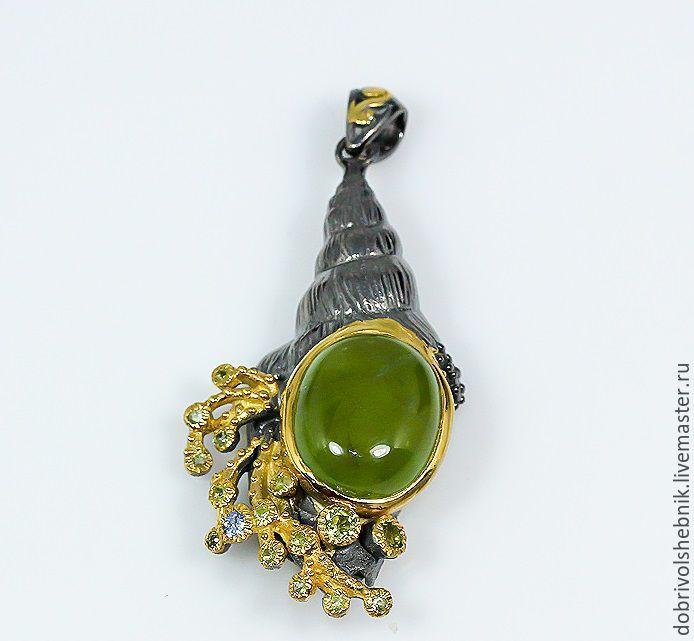 Pendant 'breeze' with prehnite, Pendants, Novaya Usman,  Фото №1