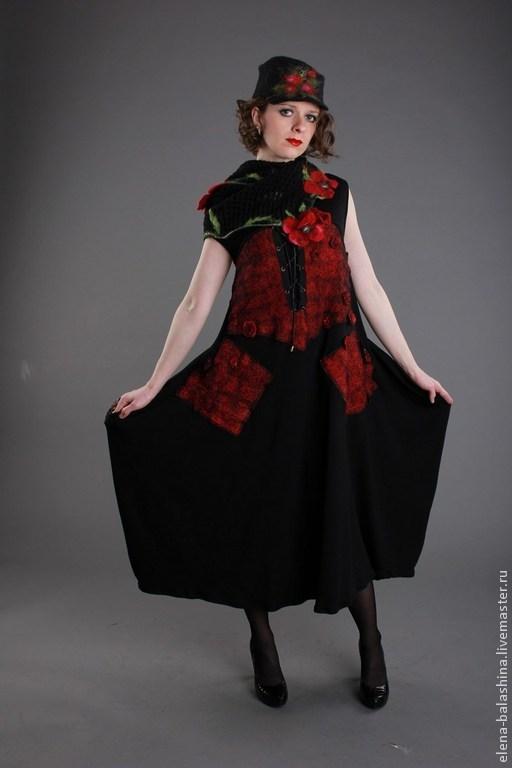 """Платья ручной работы. Ярмарка Мастеров - ручная работа. Купить Платье """"Маки на черном"""". Handmade. Черный, сарафан длинный"""