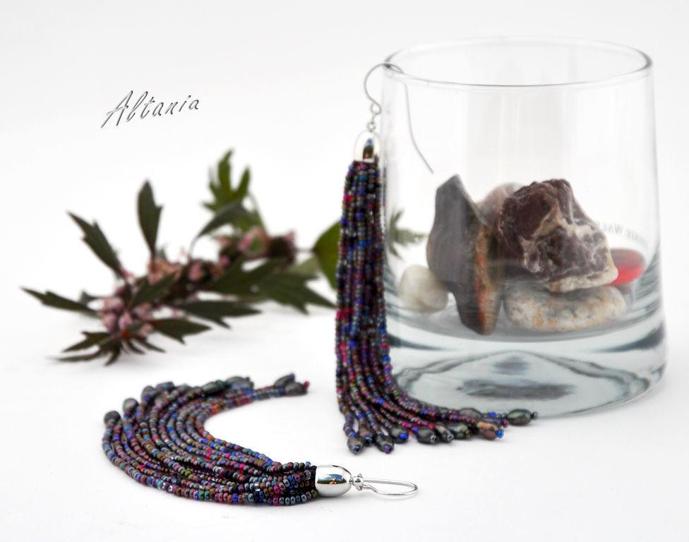 Earrings beaded tassel, Earrings, Sarov,  Фото №1