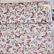 Материалы для творчества ручной работы. Ярмарка Мастеров - ручная работа Ткань мини отрез 20374  Почтовые бабочки (22х27см). Handmade.