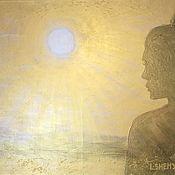 Картины и панно handmade. Livemaster - original item Painting big girl in the golden rays of the sun