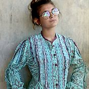 Одежда handmade. Livemaster - original item Tunic dress made of cotton, embroidery and lace turquoise reptile.. Handmade.