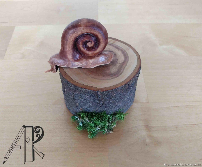 Figurine souvenir figurine of a Snail carved wood Pencil holder, Figurines, Ryazan,  Фото №1