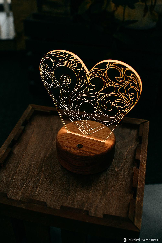 """Ночник """"Горячее сердце"""" в деревянном ящичке, Ночники, Псков,  Фото №1"""
