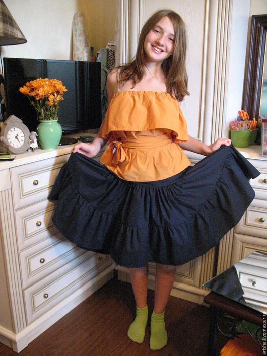 Юбки ручной работы. Ярмарка Мастеров - ручная работа. Купить Женская юбка из  хлопка  темно-синяя. Handmade. Юбка объемная