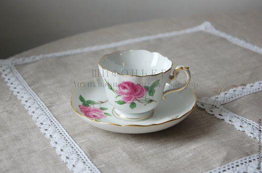 Винтажная посуда. Ярмарка Мастеров - ручная работа. Купить Чайная пара Meissen. Handmade. Розовый, немецкий фарфор, роза