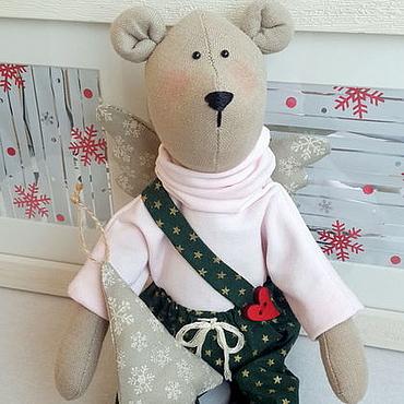 Куклы и игрушки ручной работы. Ярмарка Мастеров - ручная работа Новогодний мишка-ангел. Handmade.