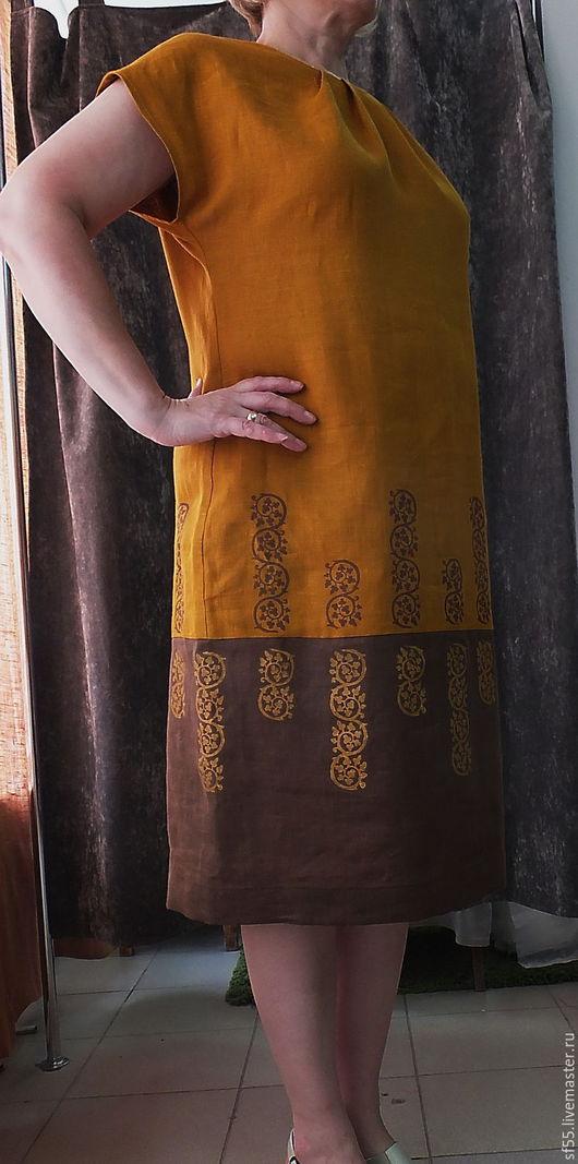 Платья ручной работы. Ярмарка Мастеров - ручная работа. Купить Платье Горчица с вензелями из льна с ручной верховой набойкой. Handmade.