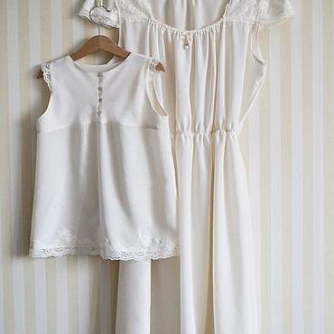 Одежда ручной работы. Ярмарка Мастеров - ручная работа Ночные сорочки из шелка для мамы и дочки. Handmade.