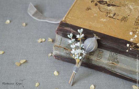 """Броши ручной работы. Ярмарка Мастеров - ручная работа. Купить Брошь цветок - """"Сухоцветы"""". Сухая головка мака, белая лаванда.. Handmade."""
