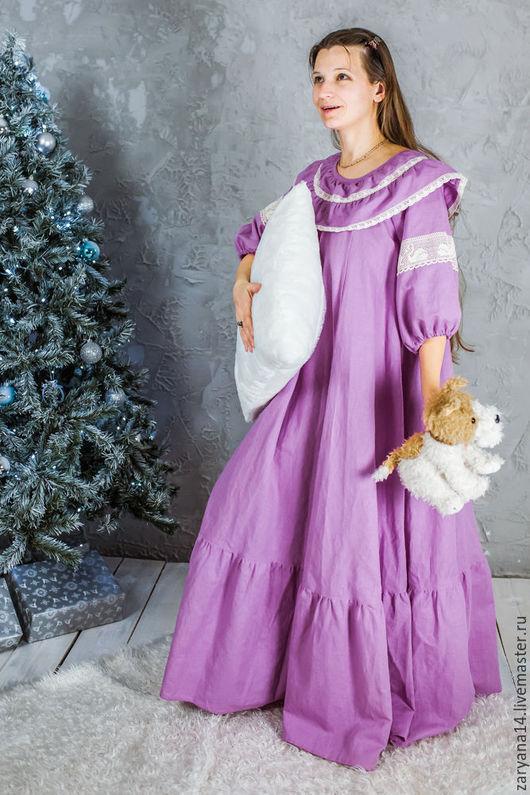 """Платья ручной работы. Ярмарка Мастеров - ручная работа. Купить Ночная рубашка """"Красивые сны"""". Handmade. Брусничный, домашнее платье"""