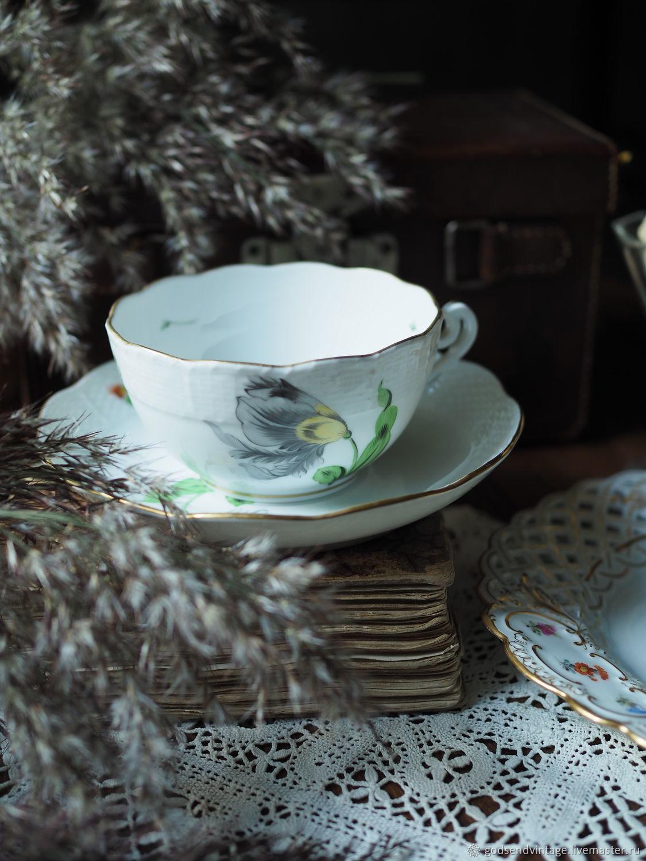 Big tea pair Herend, Hungary. Hand painted, Vintage mugs, St. Petersburg,  Фото №1