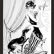 Картины и панно ручной работы. Ярмарка Мастеров - ручная работа Графика. Дама с собачкой. Левретка.. Handmade.