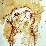 Картины и панно ручной работы. Ярмарка Мастеров - ручная работа Кофейный аромат - Маленький котик. Handmade.