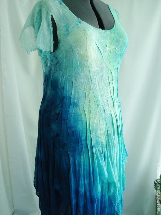 """Платья ручной работы. Ярмарка Мастеров - ручная работа. Купить Платье летнее """"Нимфа"""". Handmade. Синий, сарафан для лета, шерсть"""
