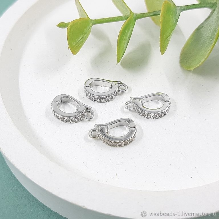Bale detachable 12h3,5h7. 5511 mm with zircons rhodium plated (-R), Accessories for jewelry, Voronezh,  Фото №1