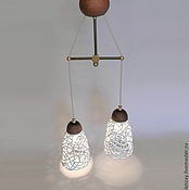 Для дома и интерьера handmade. Livemaster - original item Champagne foam - a lamp with two lamps. Handmade.
