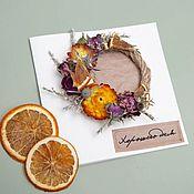 """Открытки ручной работы. Ярмарка Мастеров - ручная работа Открытка """"Хорошего дня"""" с букетом из сухоцветов. Handmade."""