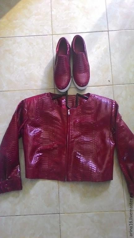 Верхняя одежда ручной работы. Ярмарка Мастеров - ручная работа. Купить Курточка из питона. Handmade. Бордовый, курточка летняя