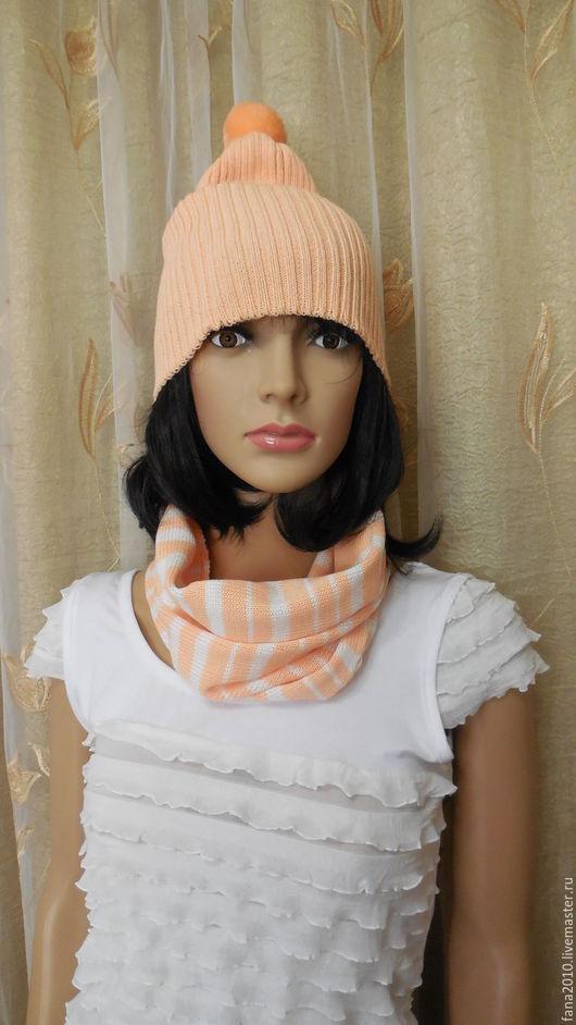 Шапки ручной работы. Ярмарка Мастеров - ручная работа. Купить Персиковый вязаный комплект снуд-шарф и шапочка с помпоном Нежный перс. Handmade.