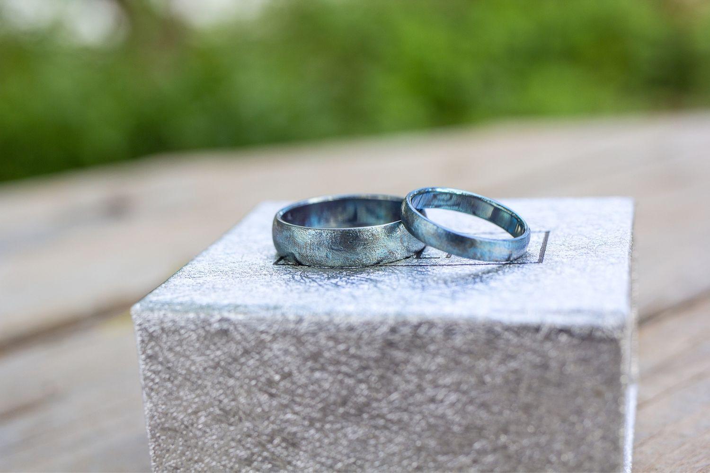 Голубые обручальные кольца из титана. Парные матовые кольца, Кольца, Москва,  Фото №1