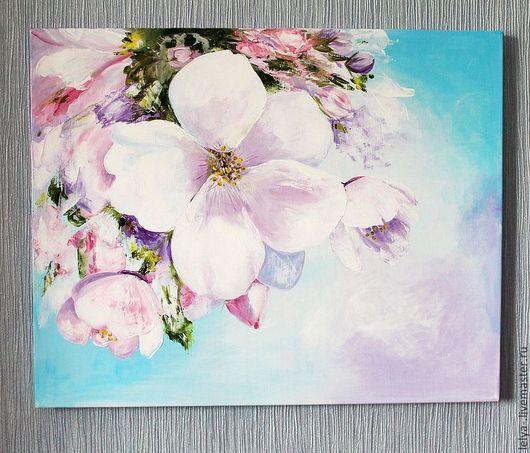 Картины цветов ручной работы. Ярмарка Мастеров - ручная работа. Купить Картина акрилом Яблоневый цвет. Handmade. Картина в подарок