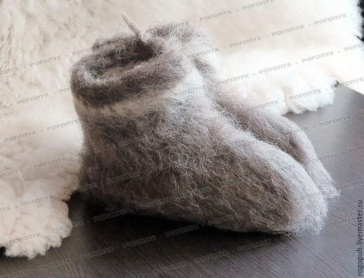 Обувь ручной работы. Ярмарка Мастеров - ручная работа. Купить Чуни из натуральной овечьей шерсти (серые) №1. Handmade. Серый