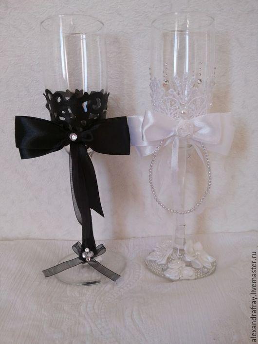 Свадебные аксессуары ручной работы. Ярмарка Мастеров - ручная работа. Купить Свадебные бокалы. Handmade. Чёрно-белый, свадебные бокалы