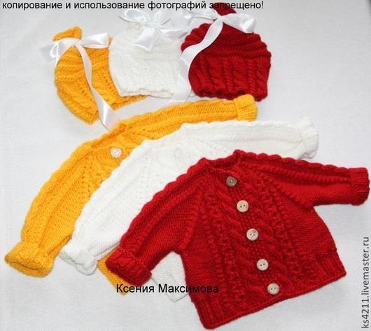 """Для новорожденных, ручной работы. Ярмарка Мастеров - ручная работа. Купить комплект """"Мамина радость"""" для малыша кофточка шапочка. Handmade."""