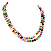 Работы для детей, handmade. Livemaster - original item Long colorful beads made of natural agate. Handmade.