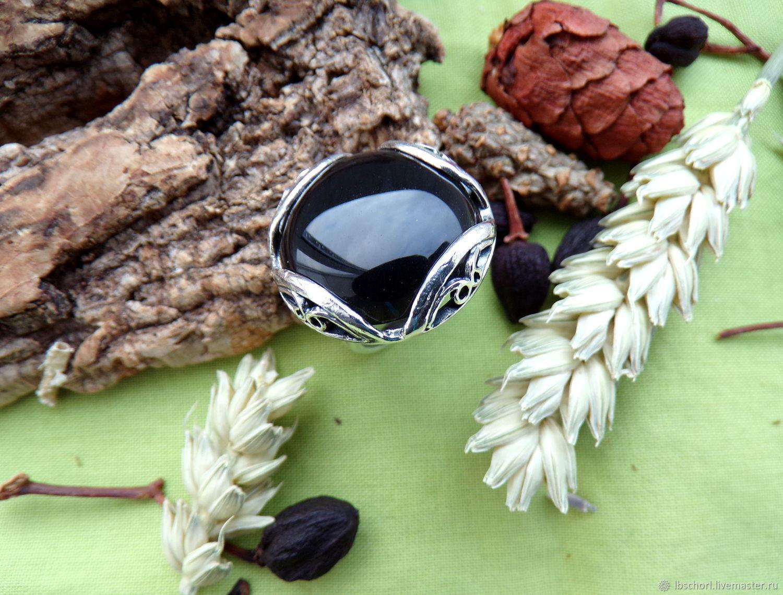 Ring with black obsidian, Amulet, Ekaterinburg,  Фото №1