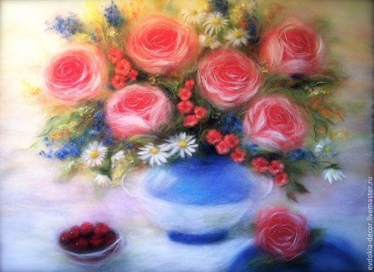 Картины цветов ручной работы. Ярмарка Мастеров - ручная работа. Купить Букет с розами. Картина из шерсти. Handmade. Картина в подарок