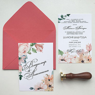 Свадебный салон ручной работы. Ярмарка Мастеров - ручная работа Аксессуары: Приглашение на свадьбу с персиковыми цветами. Handmade.