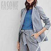 Одежда handmade. Livemaster - original item Women`s linen suit. Blue pantsuit summer. Handmade.