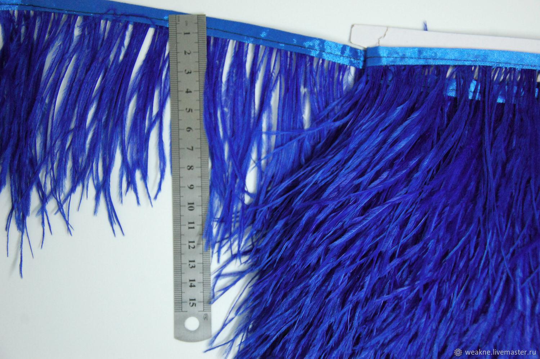 Trim of ostrich feathers 10-15 cm cobalt, braid, Moscow,  Фото №1
