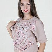 Одежда handmade. Livemaster - original item Thin felt sweater beige-pink Merino wool. Owl decor.. Handmade.
