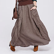 Одежда ручной работы. Ярмарка Мастеров - ручная работа Льняная бохо юбка 5-5 умбра. Handmade.